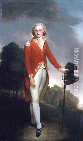 Portrait of Aubrey, Earl of Burford, wearing the uniform of a Captain in the 34th foot Oil Painting - Lemuel-Francis Abbott