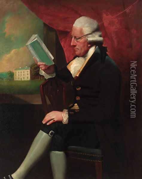 Portrait of Edward Cotsford, seated three-quarter-length, in a dark brown jacket and breeches, holding a book by a window Oil Painting - Lemuel-Francis Abbott