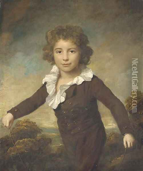 Portrait of a young boy, three-quarter length, in a brown coat and breeches, holding a skipping rope, in a wooded landscape Oil Painting - Lemuel-Francis Abbott
