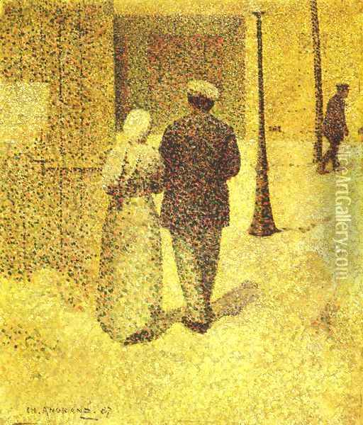 A Couple in the Street, 1887 Oil Painting - Charles Angrand