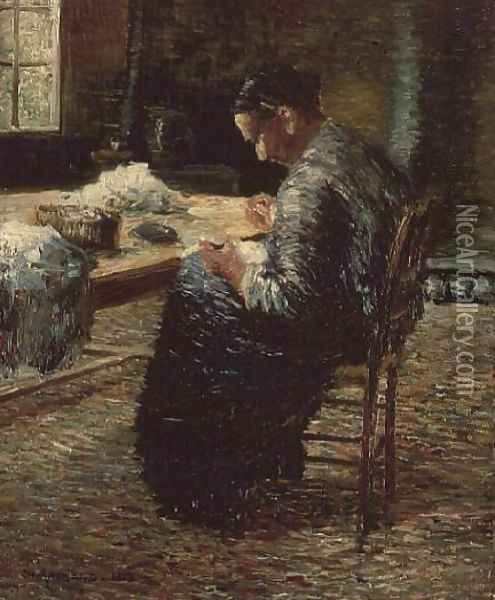 Portrait of the Artist's Mother Sewing, 1885 Oil Painting - Charles Angrand
