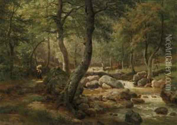 Countrywoman By A Woodland Stream Oil Painting - Helene Marie Stromeyer