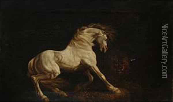 A Horse Frightened By A Lion Oil Painting - George Stubbs