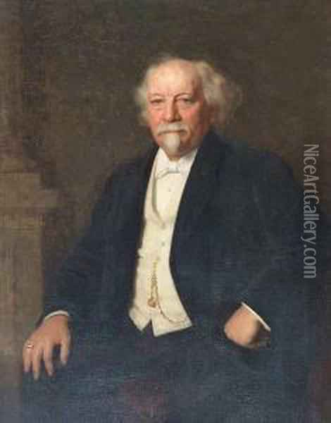 Portrait Of Mr Arthur Ross, Seated, Three-quarter Length, Wearing Black Jacket, White Shirt And Tie; Together With A Companion Portrait Of His Wife Oil Painting - William Robert Symonds