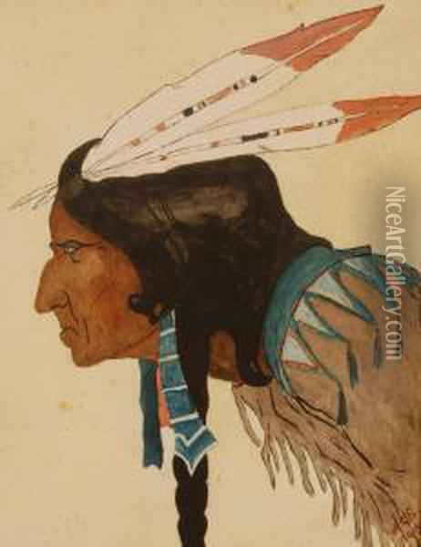 Native American Brave Oil Painting - Walter Christian Symons