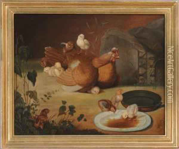Hen & Chickens Oil Painting - Arthur Fitzwilliam Tait