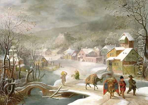 A Winter Landscape with Travellers on a Path Oil Painting - Denys Van Alsloot
