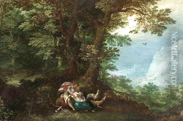 Extensive Wooded Landscape with Cephalus and Procris Oil Painting - Denys Van Alsloot