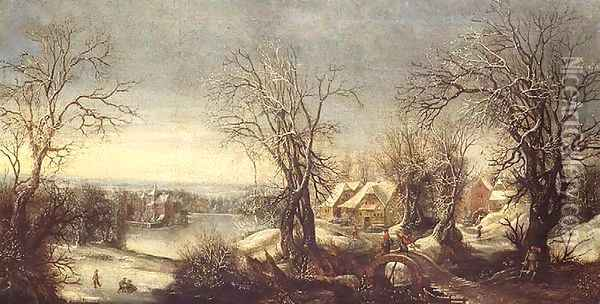An extensive wooded landscape in winter with skaters on a frozen waterway, a pilgrim and shrine beyond Oil Painting - Denys Van Alsloot