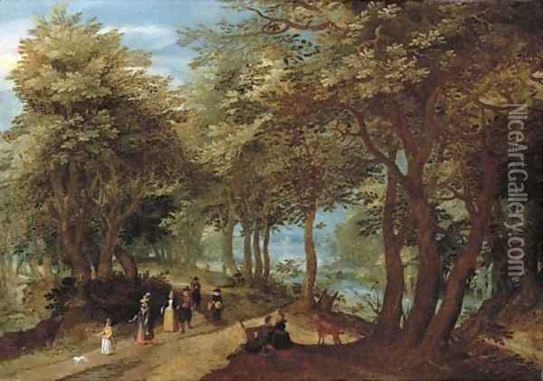 A wooded landscape with an amorous couple seated by a tree and elegant company strolling on a path near a river Oil Painting - Denys Van Alsloot