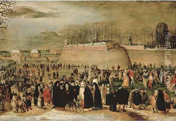 A winter carnival with figures on the ice before the Kipdorppoort Bastion in Antwerp Oil Painting - Denys Van Alsloot