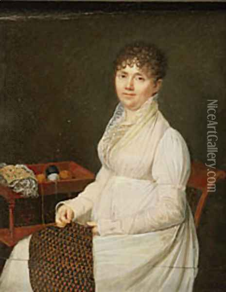 Portrait of a Woman with Tapestry Work Oil Painting - Jacques-Jean- Baptiste Augustin