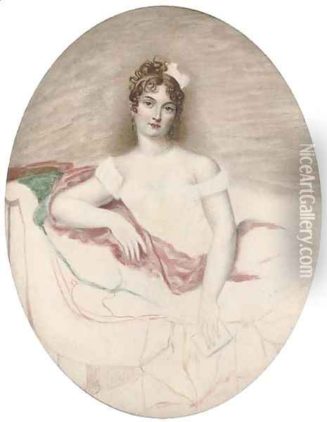 Princess Borghese, half-length, seated Oil Painting - Jacques-Jean- Baptiste Augustin