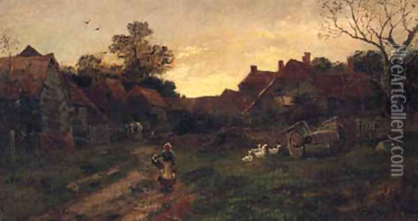 Returning Home At Sunset Oil Painting - William Anderson