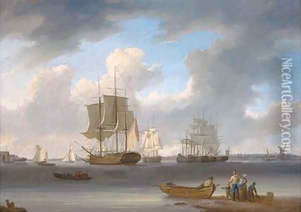 A three-master and other ships on the Thames at Millwall, with colliers moored in the middle of the river Oil Painting - William Anderson
