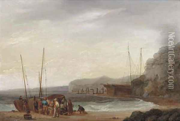 Beach scene with boats and figures Oil Painting - William Anderson