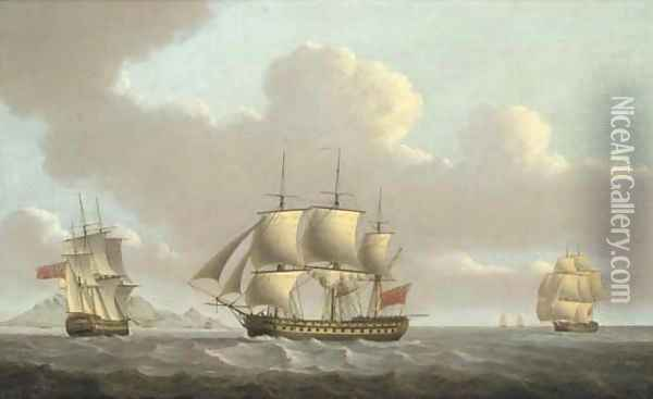 A 74 gun third rate in two positions off Table Bay, Cape of Good Hope, with Table Mountain in the distance Oil Painting - William Anderson
