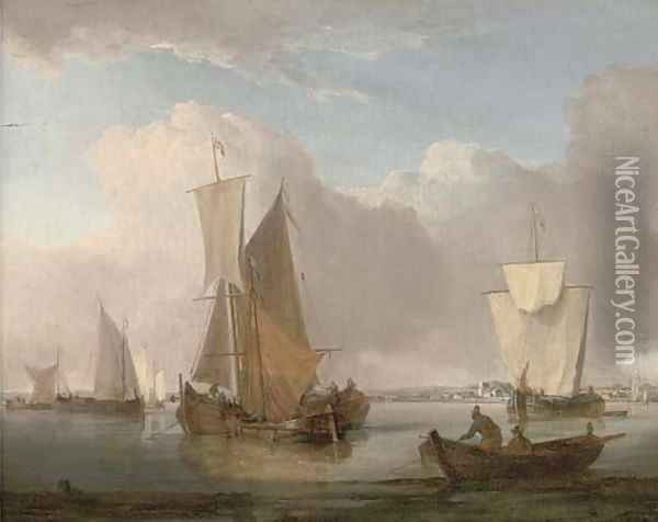 A cluster of barges drying their sails in Shoreham harbour Oil Painting - William Anderson