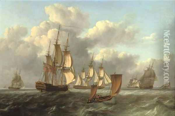 A squadron of frigates arriving at a rendezvous with a lugger passing them Oil Painting - William Anderson
