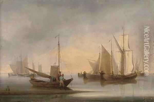 Dutch fishing barges drying their sails at the end of the day Oil Painting - William Anderson