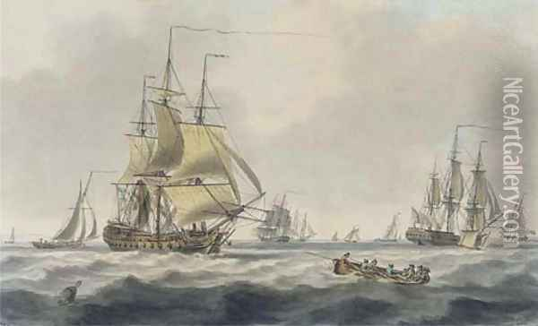 Royal Naval frigates and other shipping in the Downs Oil Painting - William Anderson