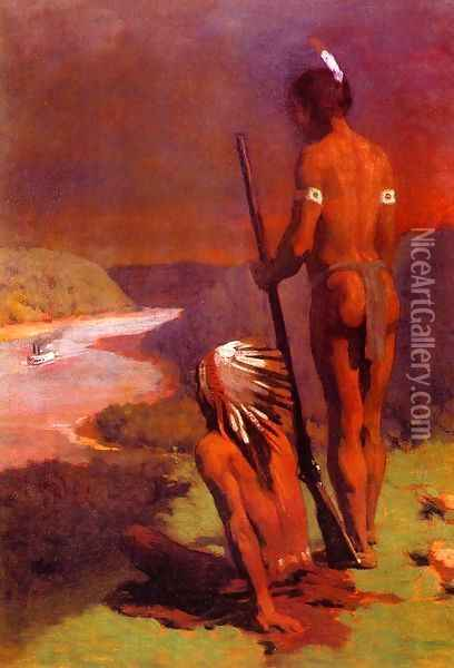 Indians on the Ohio Oil Painting - Thomas Anshutz