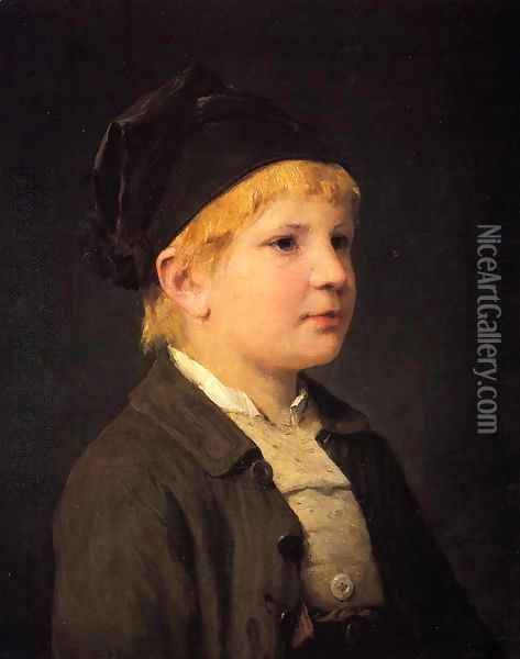 Portrait of a Young Boy Oil Painting - Albert Anker