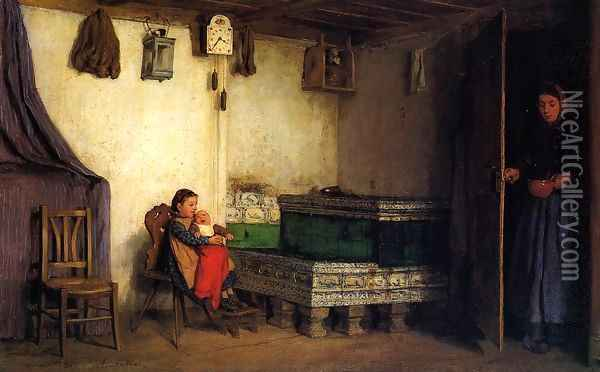 An Interior with Mother and Children Oil Painting - Albert Anker