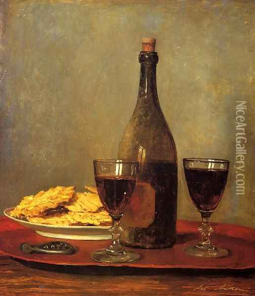 Still Life: Two Glass of Red Wine, a Bottle of Wine; a Corkscrew and a Plate of Biscuits on a Tray Oil Painting - Albert Anker
