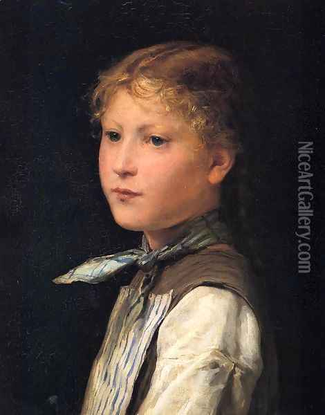 Portrait of a Young Girl Oil Painting - Albert Anker