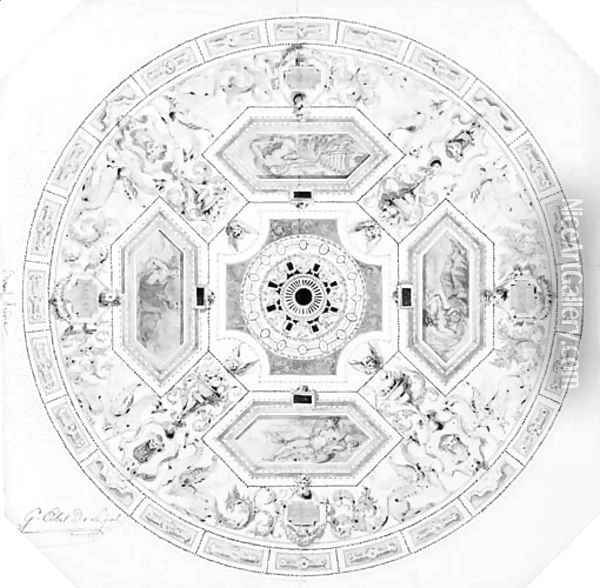 Design for the decoration of a cupola in a theatre Oil Painting - Alexandre-Denis Abel de Pujol