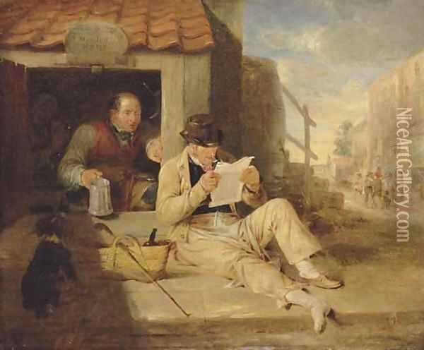 The cobblers Portrait of a man, small full-length, reclining reading a newspaper by a cobblers Oil Painting - Sir William Allan