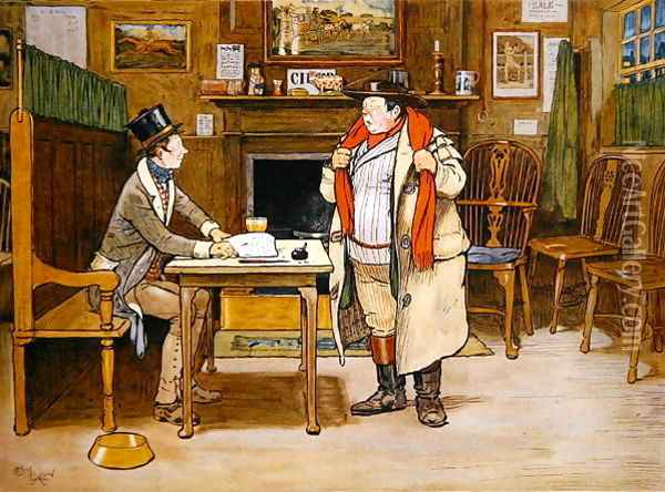 The Two Wellers at the Blue Boar Oil Painting - Cecil Charles Aldin
