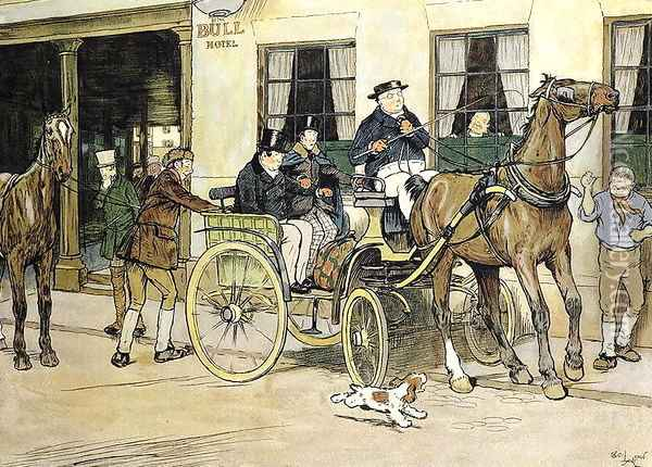 The Pickwickians start from the Bull Hotel at Rochester Oil Painting - Cecil Charles Aldin