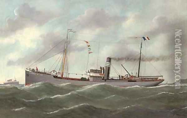 The French coaster Le Perrey outward-bound from Le Havre Oil Painting - Victor Adam