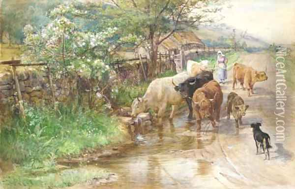 A herder and cattle in a springtime Highland landscape Oil Painting - Joseph Denovan Adam