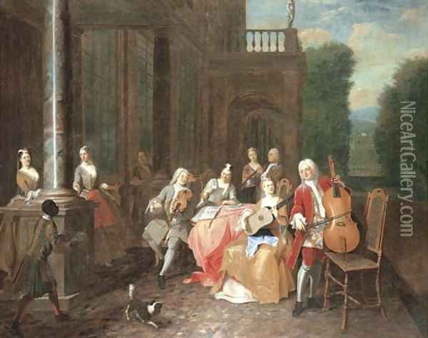 A musical party on a terrace Oil Painting - Joseph van Aken