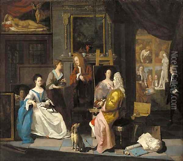 The interior of an artist's studio, with a lady having her portrait painted Oil Painting - Joseph van Aken