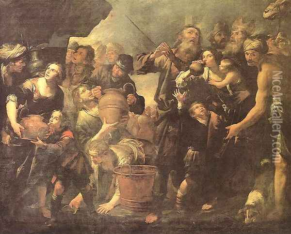 Moses Drawing Water from the Rock Oil Painting - Gioacchino Assereto