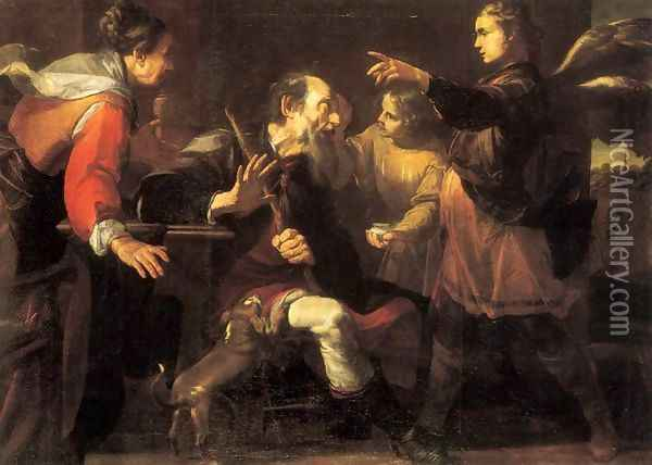Tobias Healing the Blindness of His Father Oil Painting - Gioacchino Assereto