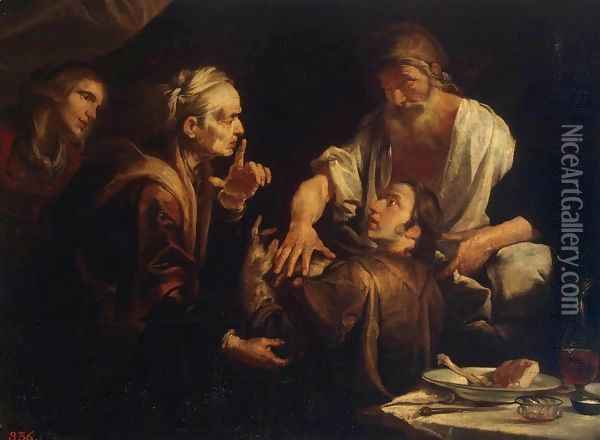 Isaac Blessing Jacob Oil Painting - Gioacchino Assereto