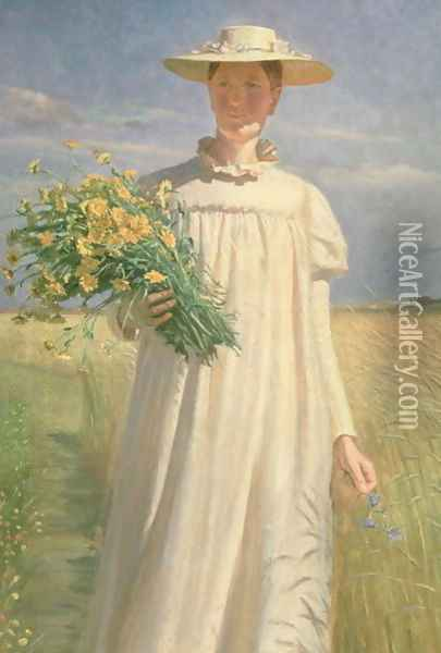 Anna Ancher returning from Flower Picking, 1902 Oil Painting - Michael Peter Ancher