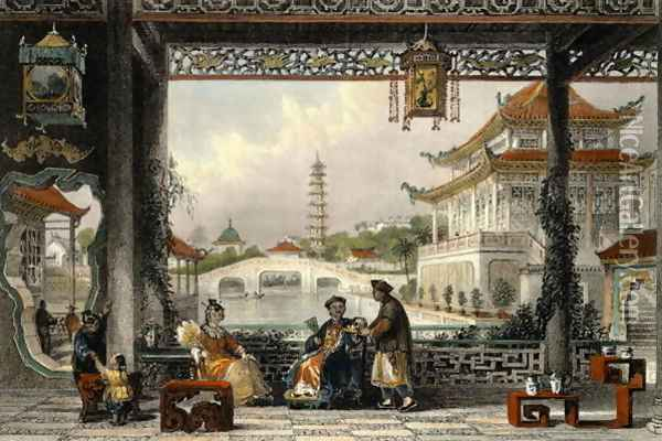 Pavilion and Gardens of a Mandarin near Peking, from 'China in a Series of Views' Oil Painting - Thomas Allom