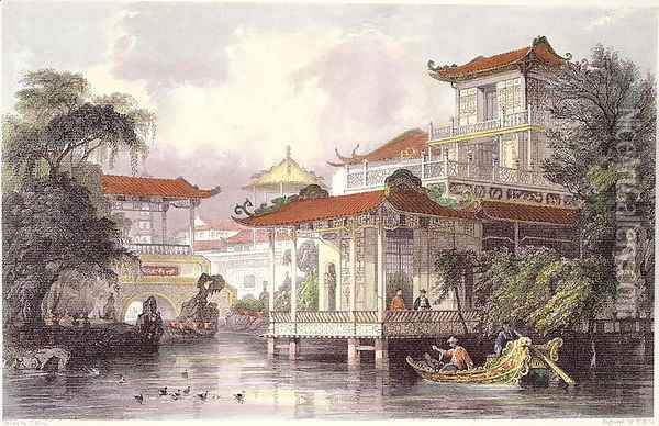 Home of a Chinese Merchant near Canton, from 'China in a Series of Views' Oil Painting - Thomas Allom
