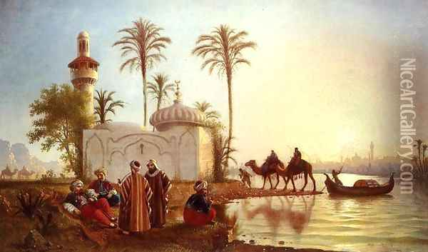 Evening Smoke by the Mosque Oil Painting - Fortunato Arriola