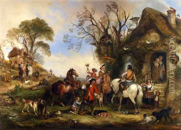 A Hawking Party Oil Painting - Henry Andrews