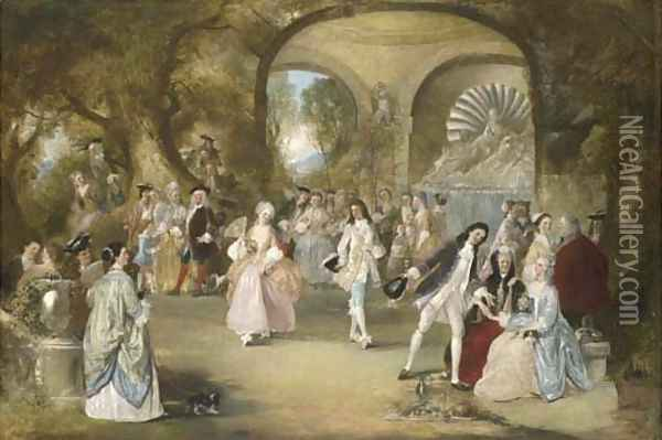 A fete champetre, with courtly figures dancing Oil Painting - Henry Andrews