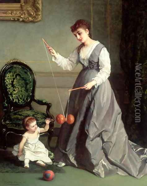 `Angel and Devil' or `Playing Diabolo, The-Devil-on-two-Sticks' 1868 Oil Painting - Cesare Felix dell' Acqua