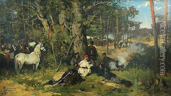 Insurgents' Camp in the Forest Oil Painting - Thaddaus von Ajdukiewicz