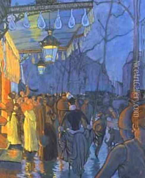 Street Scene, at Five in the Afternoon, 1887 Oil Painting - Louis Anquetin
